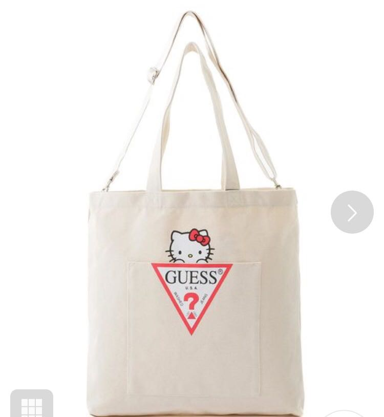 bc881e48c Guess x hello kitty triangle logo canvas tote bag japan exclusive ...