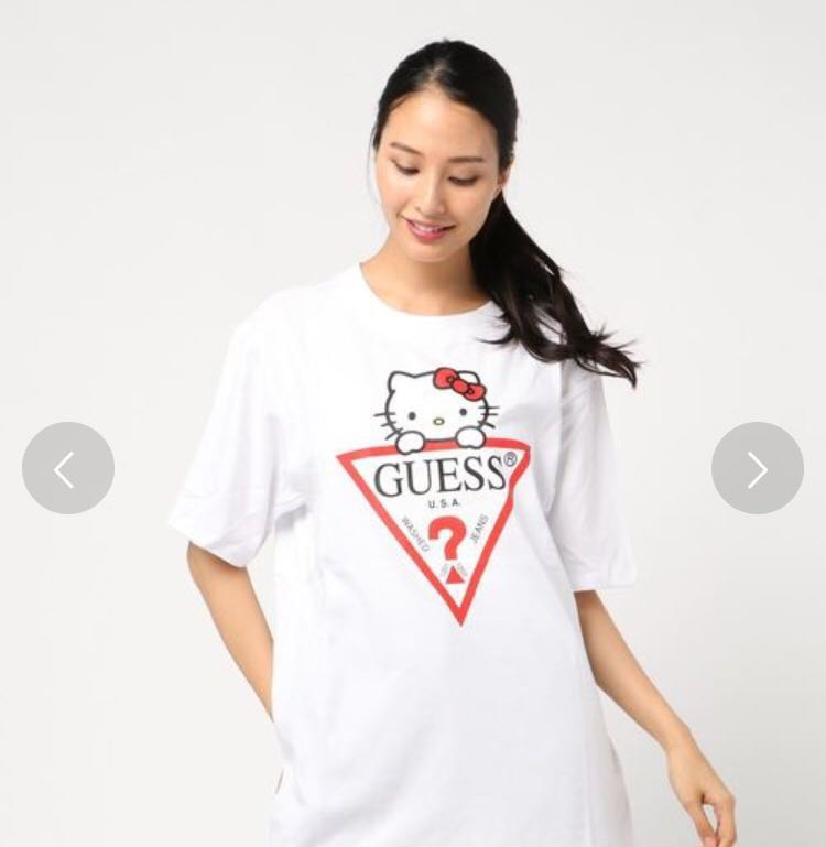 5dfca99643a4 Guess x hello kitty triangle logo tee japan exclusive, Women's ...