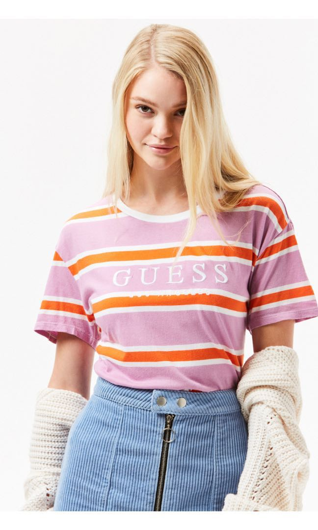 27d6904073 Guess-Embroidered Logo Striped T-Shirt, Women's Fashion, Clothes ...