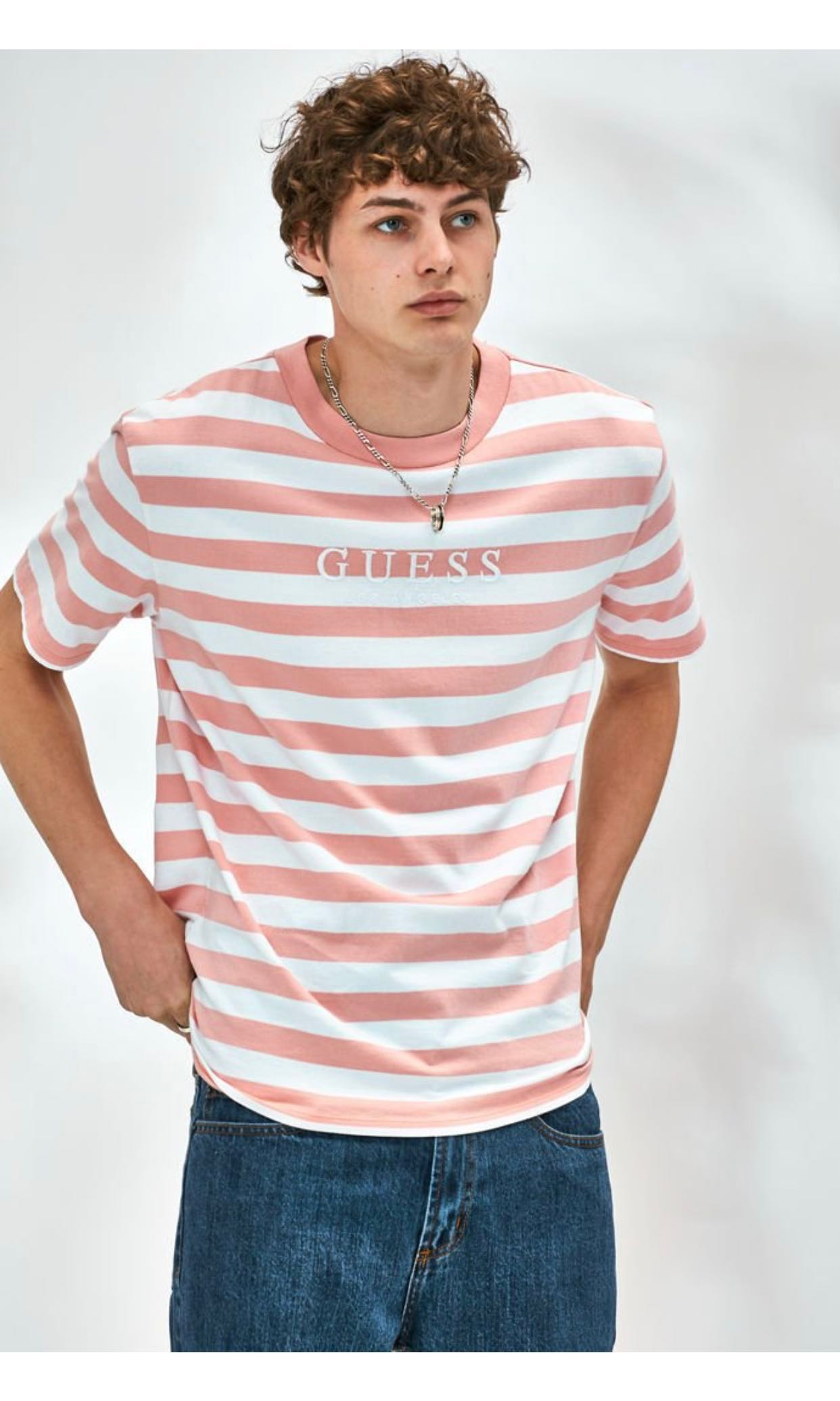 7b92fab120 Guess-Palm Striped T-Shirt, Men's Fashion, Clothes, Tops on Carousell