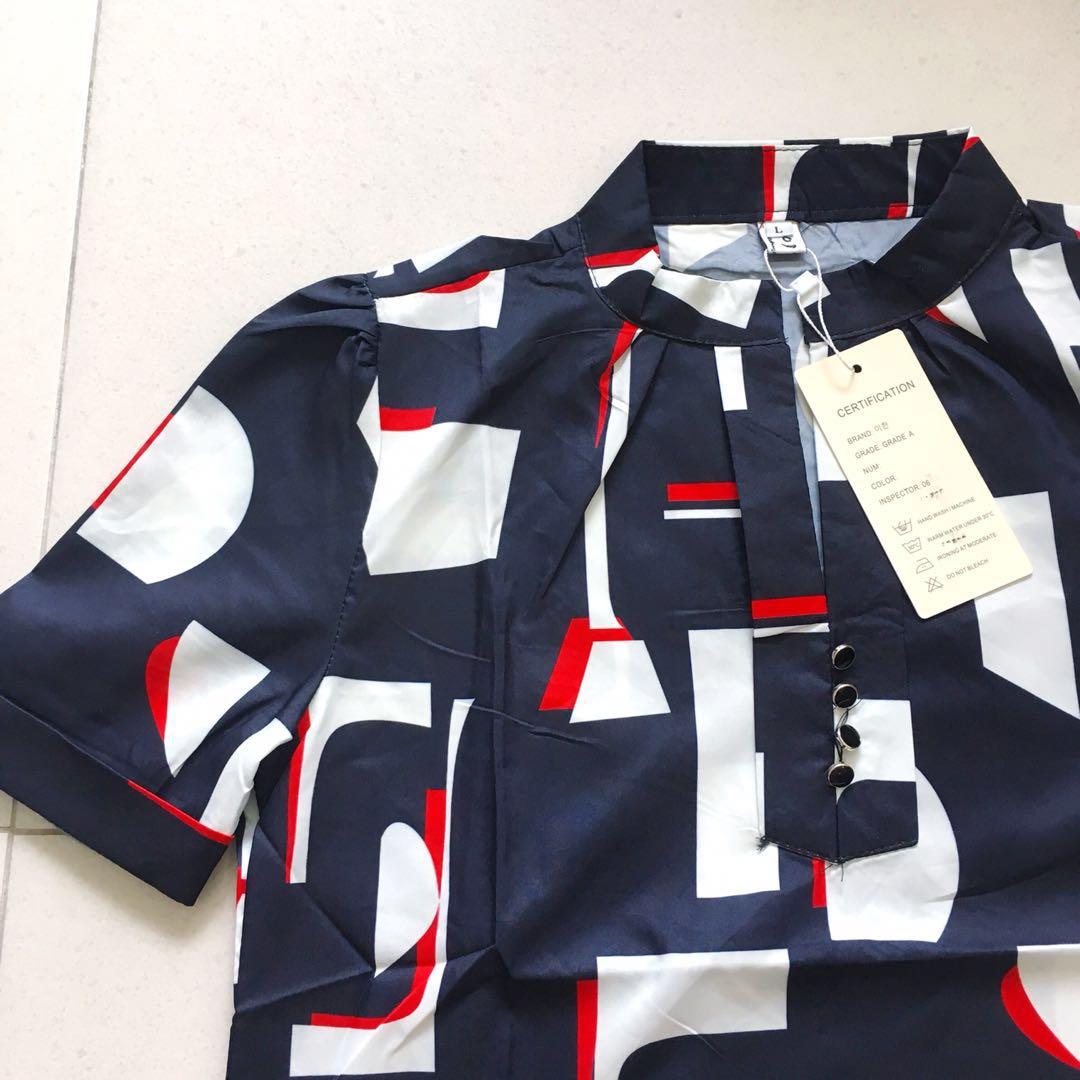 731ba89fce7b62 BNWT Abstract Printed Navy Blue Mandarin Collar Short Sleeve Chiffon Blouse  / Shirt / Top, Women's Fashion, Clothes, Tops on Carousell