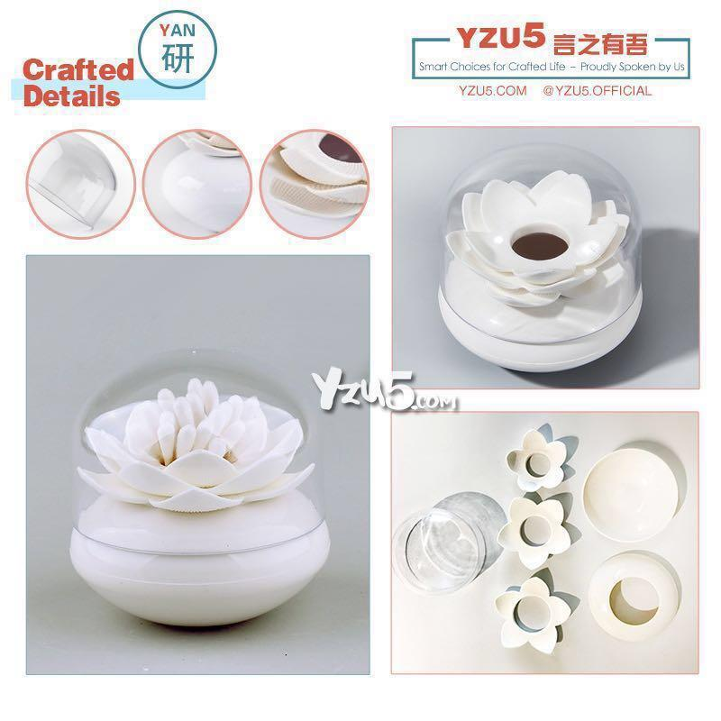 Lotus Cotton Bud Holder Creative Design Toothpick Floss Pick