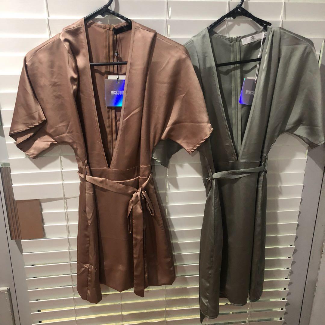 Misguided satin/silk mini wrap dresses