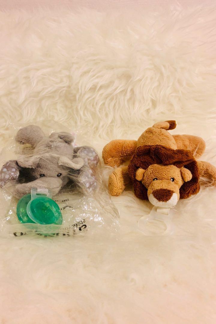 Paci Plushies Elephant Buddies  Pacifier Holder Plush Toy Detachable Pacifiers