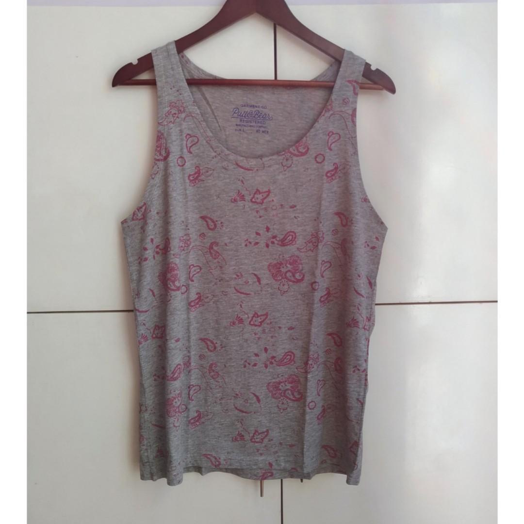 2e1ce1c933eb Pull & Bear Gray Printed Sando / Sleeveless Shirt [Large] on Carousell