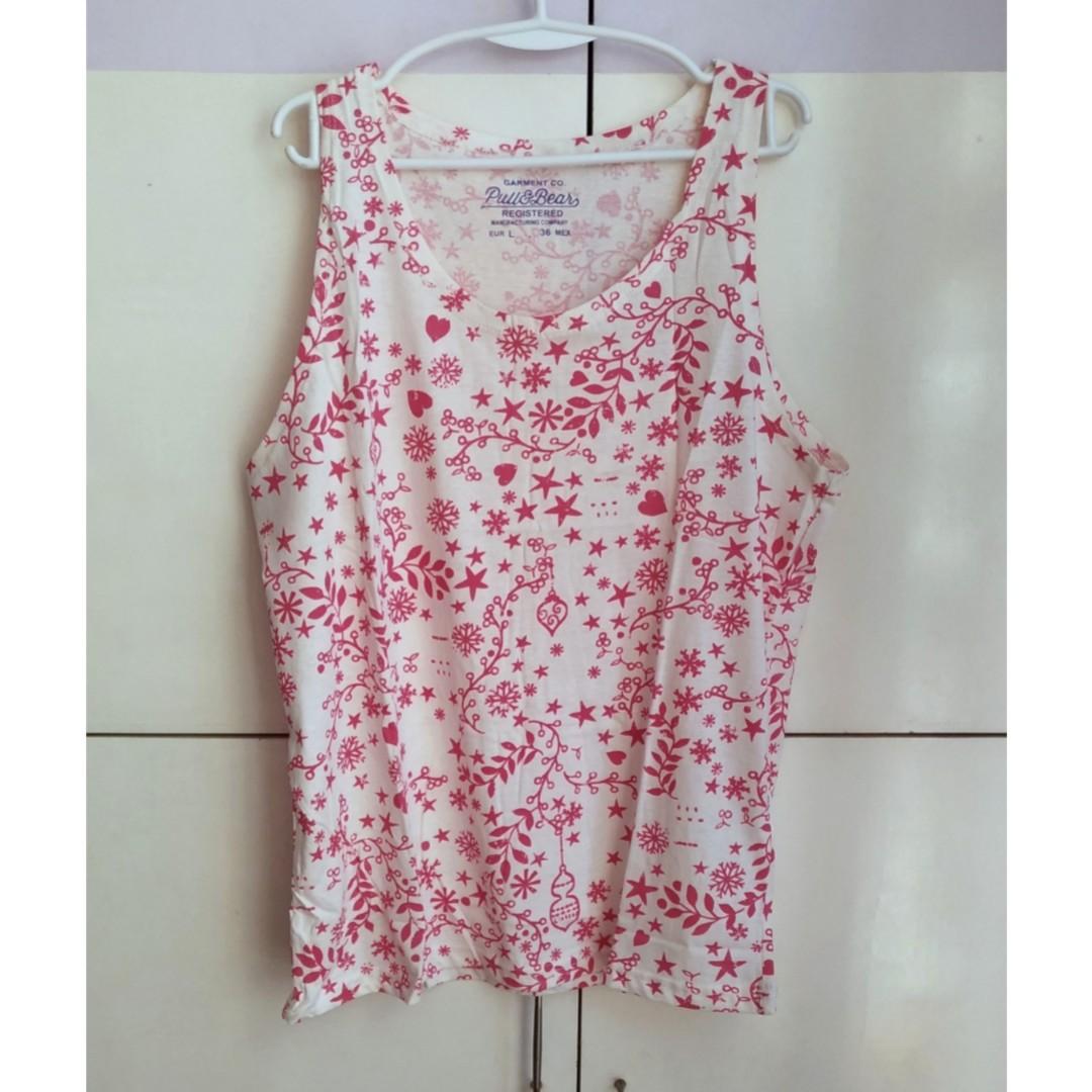 55591f37578f Pull & Bear Printed Sleeveless Shirt / Sando, Men's Fashion, Clothes ...