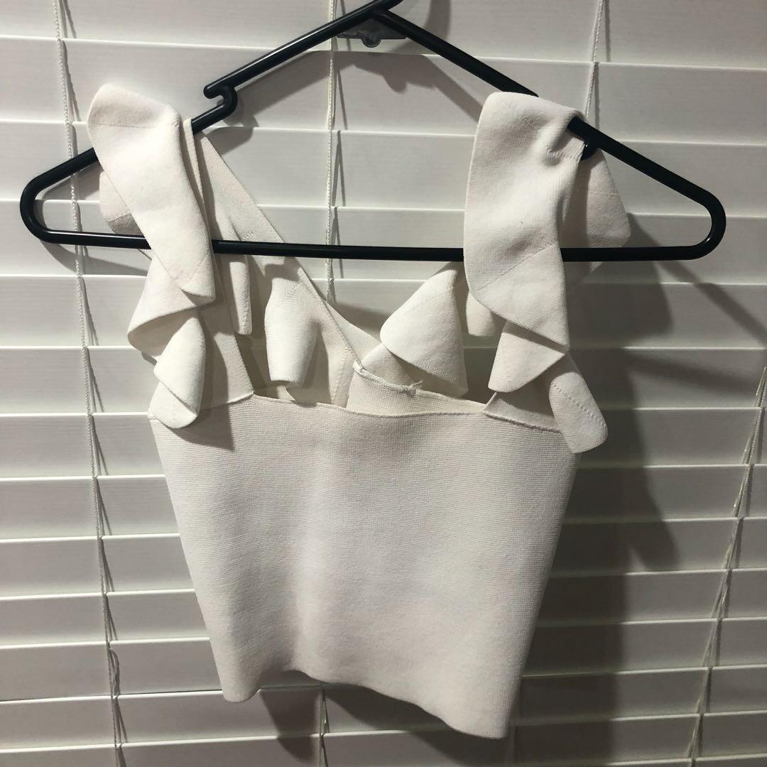 Sheike white frill crop bandage top