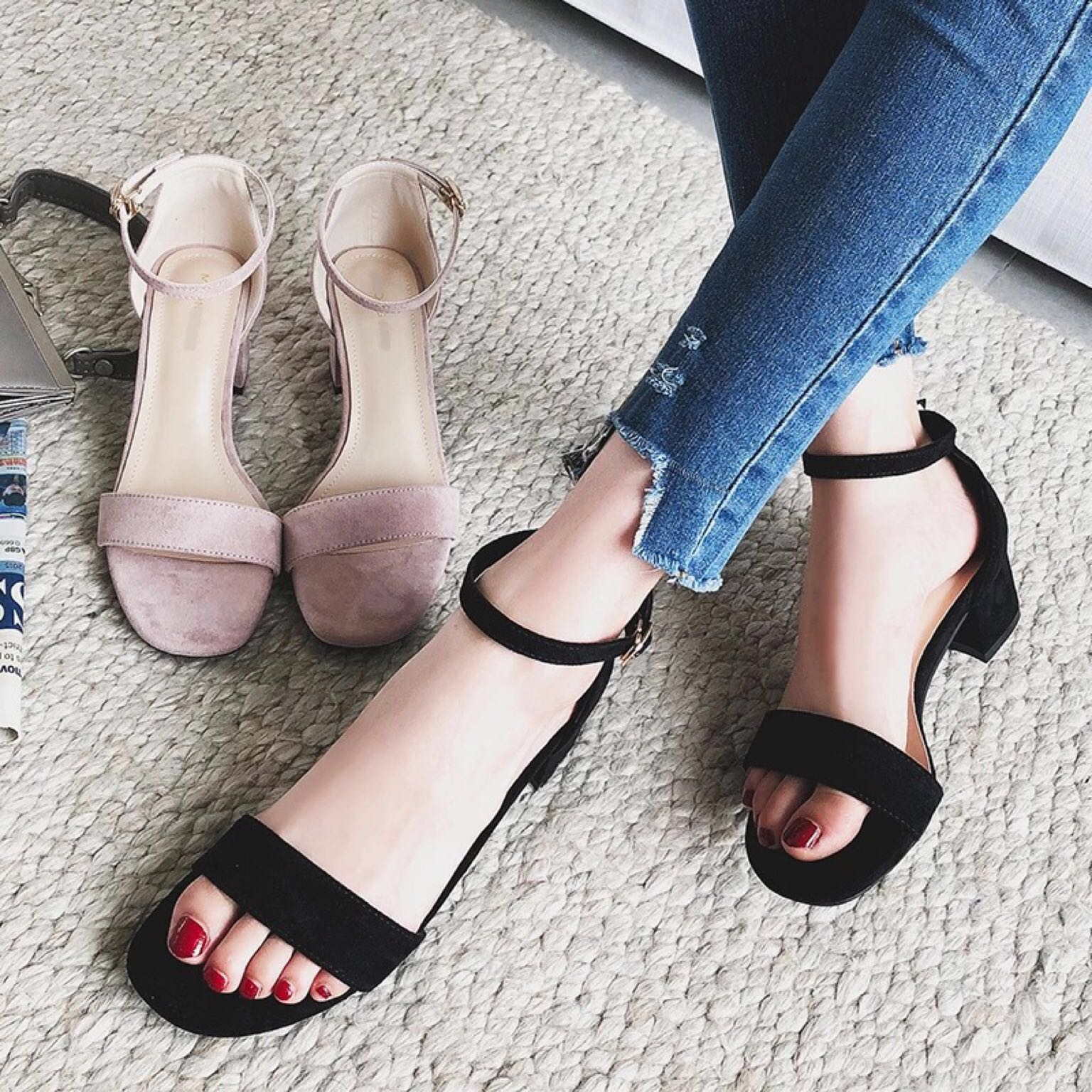 Suede Sandals with Heels office work casual women shoe woman ladies ...