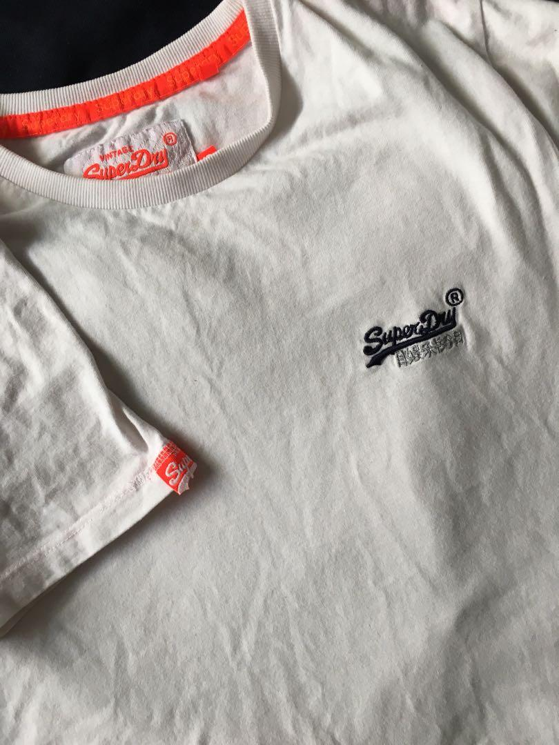 XS Superdry white orange tee/top