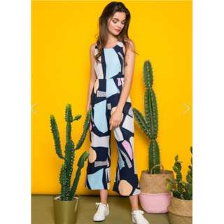 b8d710f9d544 YAZMIN GEOMETRIC JUMPSUIT IN NAVY by The Stage Walk TSW