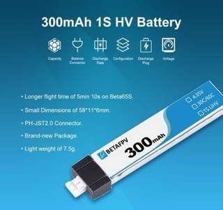 1Pcs BETAFPV 300mAh 1S 30C HV Battery
