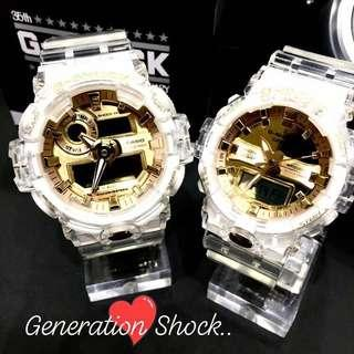 COUPLE💝SET in GSHOCK-BEAST DIVER SPORTS WATCHES : 1-YEAR OFFICIAL GFACTORY WARRANTY 35th ANNIVERSARY CRYSTAL🌟CLEAR JELLYFISH : Best For Most ROUGH Users & Unisex : GA-735E-7A & GA-835E-7A / GA-735 / GA-835 / GA735 / GA835 / GA-700 / GA-800 / GA700 / GA800