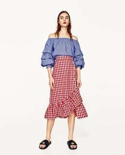 Zara Red Checkered Skirt