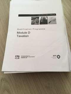 QP HKICPA BPP learning pack module D Taxation