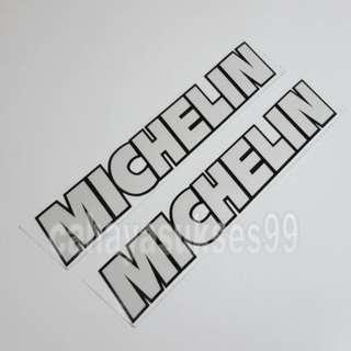 Sticker Cutting MICHELIN Putih List Hitam 20cm X 3.5cm Stiker Body Motor Reflective PAKET Satu Set 2pcs NEW Ready STOCK
