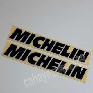 Sticker Cutting MICHELIN Hitam List Putih 20cm X 3.5cm Stiker Body Motor Reflective PAKET Satu Set 2pcs NEW Ready STOCK