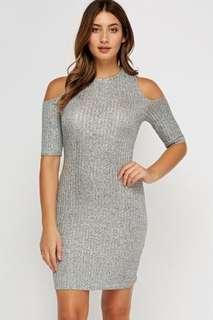 M Boutique Grey Shoulder Cut Out Dress