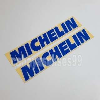 Sticker Cutting MICHELIN Biru List Putih 20cm X 3.5cm Stiker Body Motor Reflective PAKET Satu Set 2pcs NEW Ready STOCK