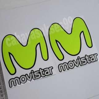 Sticker Cutting MOVISTAR Putih Logo M Hijau Stabillo Stiker Body Motor Kilap Reflective Paket HEMAT PROMOSI 1 Set 2 Pcs New Ready Stock