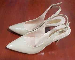 Nude Beige Pointed Shoes Strapped Back 3-inch Heels (Size 10) for Ladies