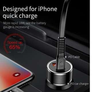 Baseus Small Screw 3.4A Dual-USB iP Car Charging Set