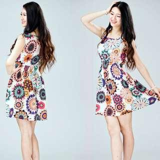 Women Ladies Floral Print Sleeveless Casual Mini Dress M