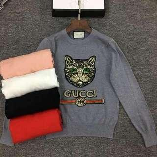 Gucci Cat Blouse Gray And Black