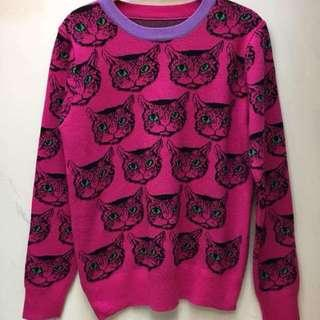 Gucci Cat Blouse In Pink And Purple Neck Lining