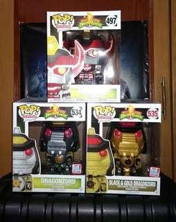"Mighty Morphin Power Rangers Metallic Megazord & Regular Dragonzord & Black-Gold Dragonzord 6"" Exclusives Funko Pop Bundle"