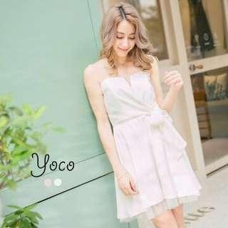 東京著衣 性感名媛傘襬平口連身裙(白色/粉紅色)