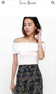 Love Bonito LB Taria Off Shoulder Knit Top In White