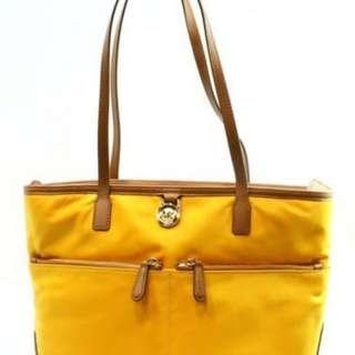 Authentic Michael Kors NEW Orange Gold Kempton Medium Pocket Tote Nylon Handbag M