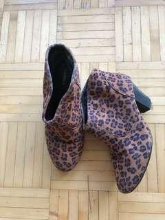 Express leopard print booties