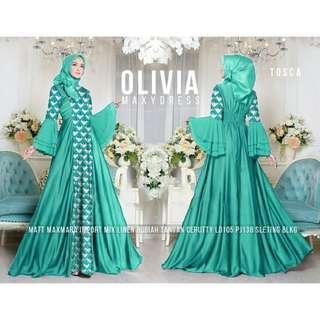Pre order Olivia sv princess maxi dress long sleeve Muslimah red black brown green blue yellow