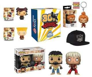 Funko Pop Street Fighter 30th Anniversary Box Capcom Exclusive Collectible Toy Gift Ken Ryu Chun Li Akuma