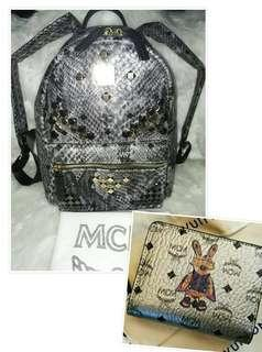 AUTHENTIC MCM WALLET AND AUTHENTIC QUALITY MCM BACKPACK MEDIUM