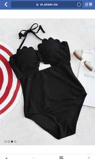 🚚 全新黑色貝殼造型連身泳裝