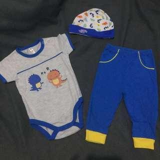 Onesie, bonnet & pajama set