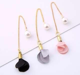 Korean Flower Pearl Drop Dangle Earrings