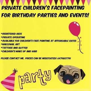 Private childrens facepainting, nails, hair etc
