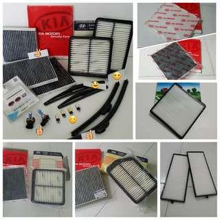 Hyundai Engine Air Filter, Aircon Carbon Or White Filter, Front & Rear Wiper, Bulbs , visor, armrest console box