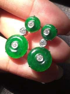 天然翡翠A貨18K金鑲嵌耳環滿綠辣綠