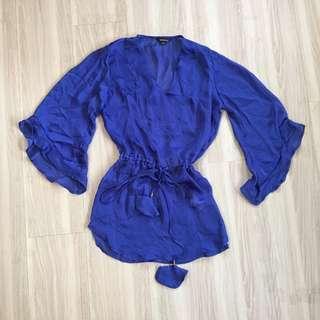 🚚 全新🇺🇸寶藍色薄雪紡性感罩衫 S號 渡假 比基尼