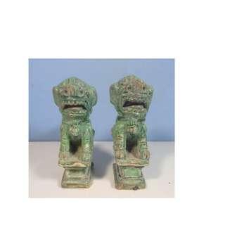 Antique rare Chinese ceramic foo dog retired c. Mid Qing Period lost of enamel