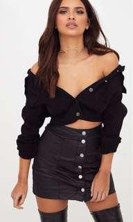 Pretty Little Thing Coated Black Denim Skirt