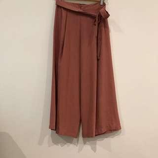 Dusty Pink Cropped Culottes Size 8