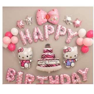 🚚 (In Stock)Hello Kitty Birthday Party Decoration Set-Happy Birthday