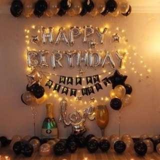 🚚 (In Stock)Silver n Black Birthday Party Decoration Set-Happy Birthday