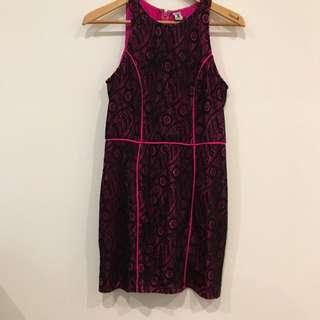 Bettina Liano Pink And Black Cocktail Dress Size 10