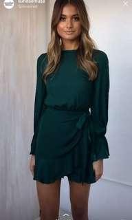 Brand new emerald green long sleep wrap dress